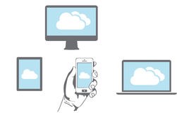 Cloud computing Network. Connected all Devices Royalty Free Stock Photos