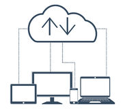 Cloud computing Network Connected all Devices. Royalty Free Stock Photo