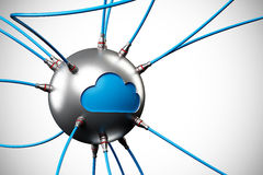 Cloud computing. Network cloud and connection cables on blue background, clipping path included Royalty Free Stock Image