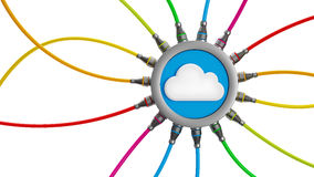 Cloud computing. Network cloud and connection cables isolated on white background, clipping path included Stock Photography