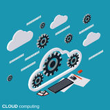 Cloud computing, network, data processing vector concept Royalty Free Stock Photography