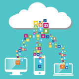 Cloud computing. And network devices Stock Photo