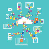 Cloud computing. And network devices Royalty Free Stock Image