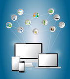 Cloud computing network electronic concepts. Stock Images