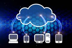 Cloud computing network. And main electronic devices Stock Image