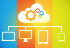 Cloud computing. Cloud networking business concept of drawing showing  works Stock Images