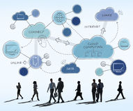 Cloud Computing Networking Connecting Concept. Business People Walking Towards and Discussing Cloud Computing Networking Connecting Stock Photo