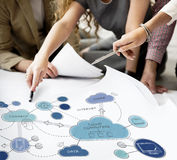 Cloud Computing Networking Connecting Concpet. People Discuss Cloud Computing Networking Connecting Royalty Free Stock Photo