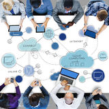 Cloud Computing Networking Connecting Concpet. People Discussing Cloud Computing Networking Royalty Free Stock Photo