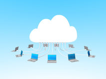Cloud computing with notebooks Stock Photos