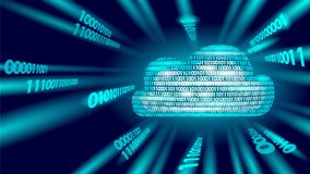 Cloud computing online storage binary code numbers. Big data information future modern internet business technology. Blue glowing global file exchange Stock Image