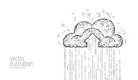 Cloud computing online storage low poly. Polygonal future modern internet business technology. White gray monochrome royalty free illustration