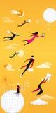 Cloud computing orange. Men a women flying and working between clouds Stock Image