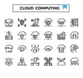 Cloud computing and connection outline design icon set. Cloud computing outline design icon set for presentation, internet connection, website,big data issue etc vector illustration