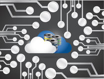 Cloud computing over a circuit board illustration Royalty Free Stock Photography