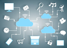 Cloud Computing Paper Cutout Icons BYOD Devices Ne Royalty Free Stock Photo