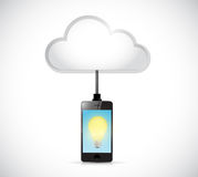 Cloud computing phone and light bulb Royalty Free Stock Photography