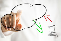 Cloud computing pictogram on a virtual interface. Hand drawn cloud computing pictogram on a virtual interface or screen showing a cloud symbol and computer with Royalty Free Stock Photography