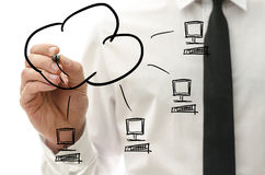 Cloud computing pictogram on a virtual interface. Male hand drawing cloud computing pictogram on a virtual interface with four computers connected to a cloud Royalty Free Stock Photography