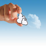 Cloud computing pixel icon. Hands exhibiting the cloud computing pixel icon Royalty Free Stock Image