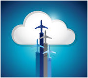 cloud computing and planes. illustration design Royalty Free Stock Photos