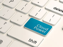 Cloud computing power. Cloud power written on a white computer keyboard for cloud computing concept Stock Images
