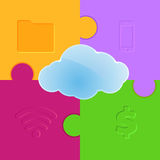 Cloud computing promo puzzle background Stock Images