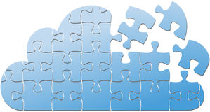 Cloud computing IT puzzle solution Stock Photo