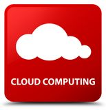 Cloud computing red square button Royalty Free Stock Images