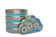 Cloud computing and remote data storage concept gold cloud and h Stock Illustration
