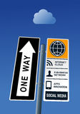 Cloud computing road post. Concept. Vector file layered for easy manipulation and custom coloring Stock Photography