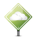 Cloud computing road sign illustration Royalty Free Stock Images