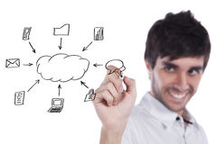 Cloud computing schema Royalty Free Stock Image