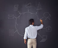 Cloud computing schema. Businessman writing a cloud computing diagram on the chalkboard royalty free stock photo