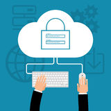 Cloud computing, security concept. Flat cloud computing background. Data storage network technology. Multimedia content and web sites hosting. vector Stock Photo