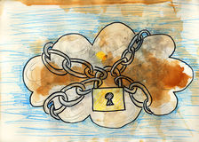 Cloud computing security. Grunge style. Hand drawn. Mixed media artwork Royalty Free Stock Image