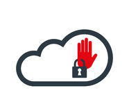 Cloud Computing with Security Icon Stock Image