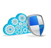 Cloud computing with security shield Royalty Free Stock Images