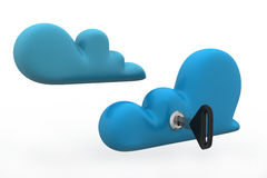 Cloud computing security. In white background Stock Image