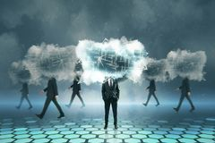Cloud computing and server concept. Cloud headed businessmen walking on blurry background. Cloud computing and server concept stock photos