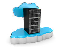 Cloud computing and server. This is a 3D rendered picture Royalty Free Stock Photo
