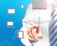 Cloud computing service with a business man. And  blue background Royalty Free Stock Images
