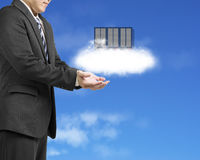 Cloud computing service concept businessman palm opening with cl Royalty Free Stock Images