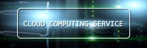 Cloud computing service concept on Supercomputer blurred background