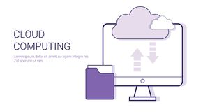 Cloud Computing Service Online Database Business Concept Template Web Banner With Copy Space Royalty Free Stock Image