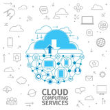 Cloud Computing Services. Consept of cloud computing sernice. Storing information in the cloud. Thin Line electronics blue vector illustration Royalty Free Stock Image