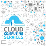 Cloud Computing Services. Storing information in the cloud. Thin Line electronics blue vector illustration. Concept of cloud computing service Stock Images