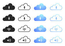 Cloud Computing - Set 1. Cloud Computing Icons - Sixteen Illustrations Stock Photography
