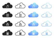 Cloud Computing - Set 2. Cloud Computing Icons - Sixteen Illustrations Stock Images