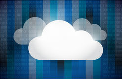Cloud computing set illustration design. Over a binary background Royalty Free Stock Photo